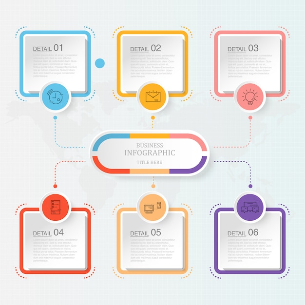 Modern infographic with six steps Premium Vector