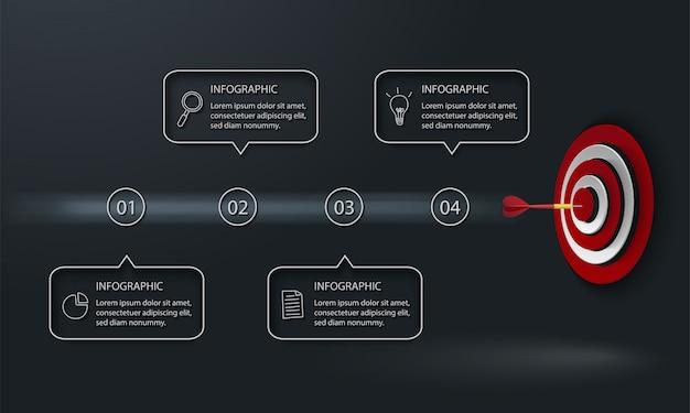 대상, 다트와 어두운 배경에 4 개의 텍스트 상자가있는 현대 Infographic 프리미엄 벡터