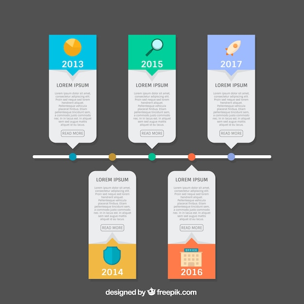 Modern infographic with time line