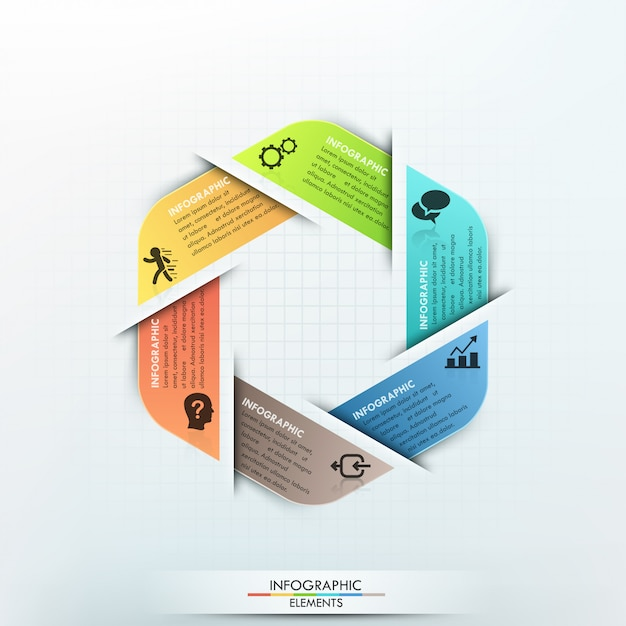 Modern infographics cycle paper template Premium Vector