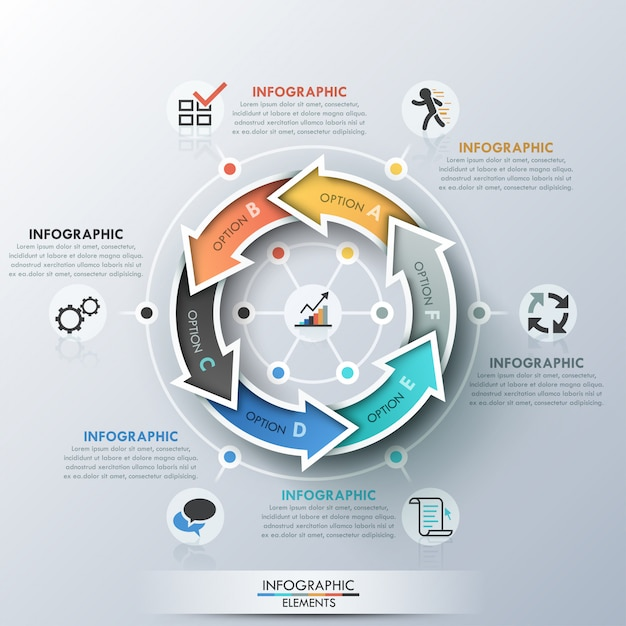 Modern infographics cycle template Premium Vector