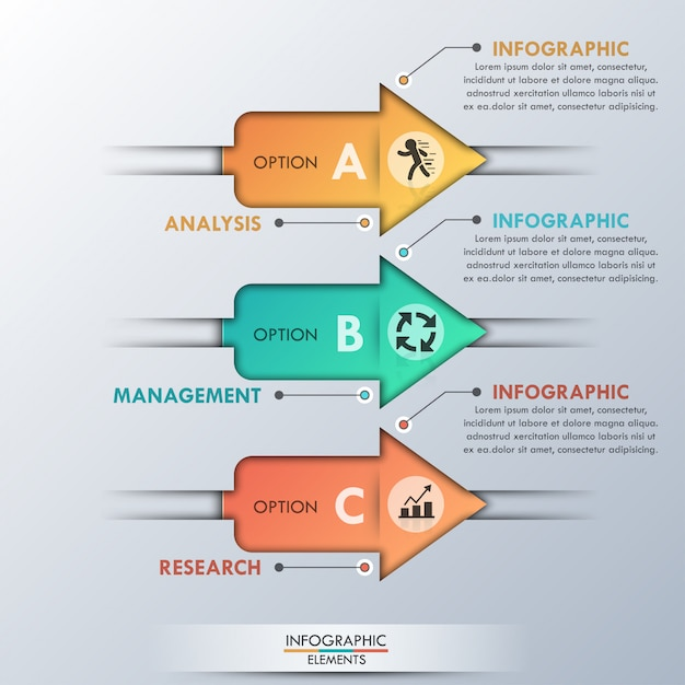 Modern infographics options banner with 3 arrows Premium Vector