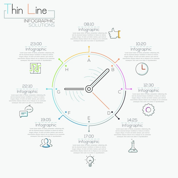 Modern infographics options banner with colorful clock Premium Vector