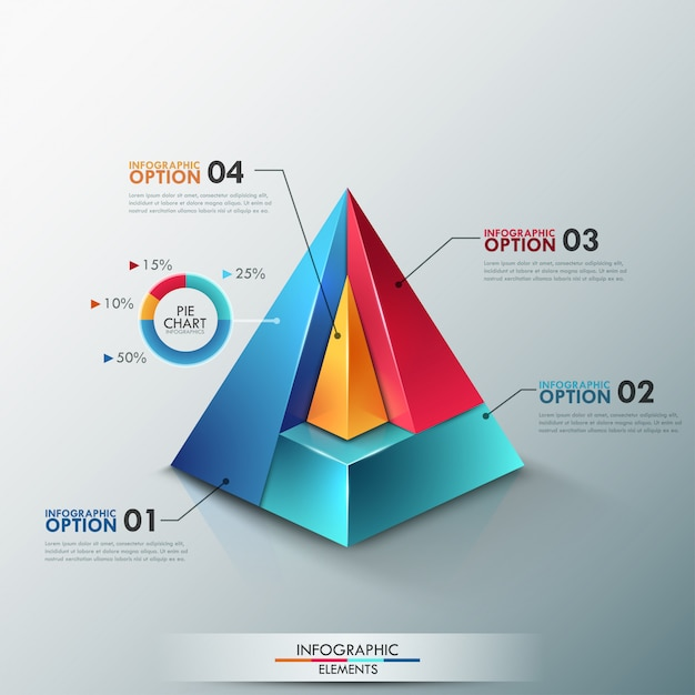 Modern infographics options banner with colorful pyramid Premium Vector