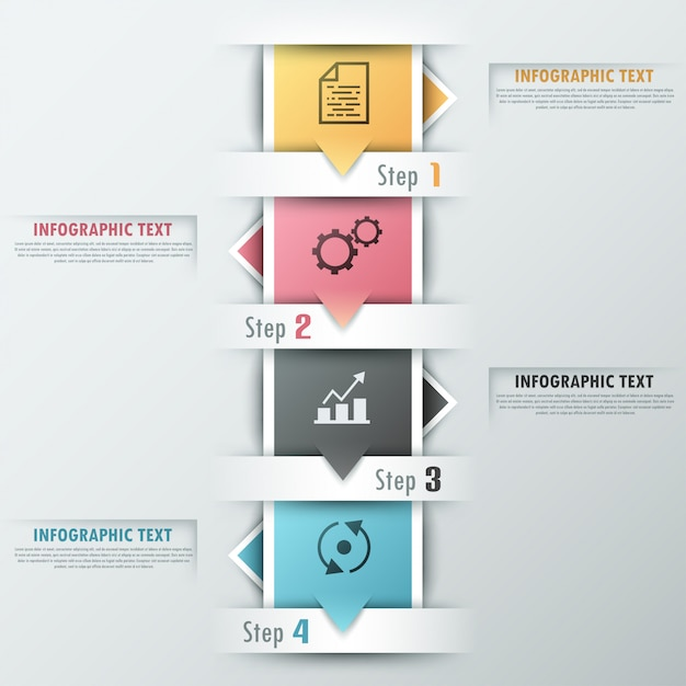 Modern infographics options banner with ribbons Premium Vector