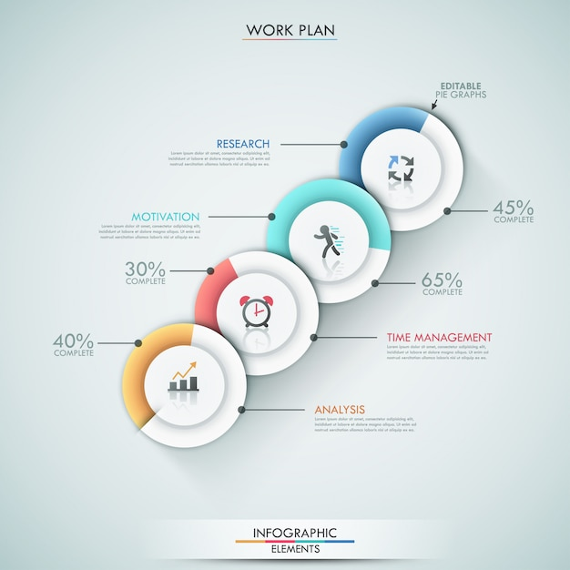 Modern infographics options template with 4 pie charts Premium Vector