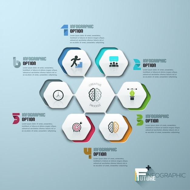 Modern infographics process template with paper sheets Premium Vector