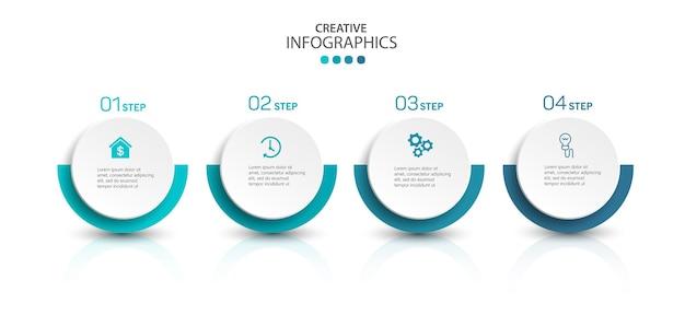 Современный инфографический шаблон с шагами Premium векторы