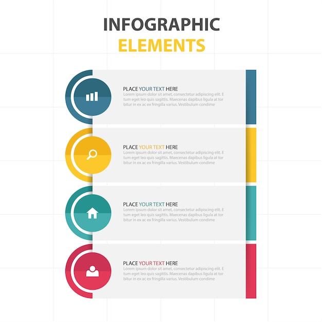 Modern infographics with four colors Free Vector