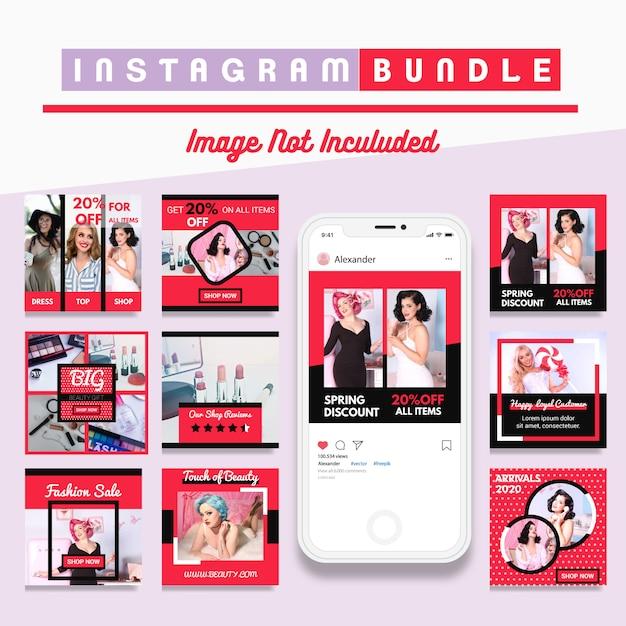 Modern instagram post fashion template Premium Vector