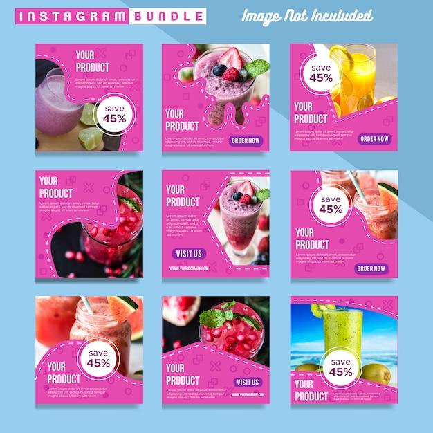 Modern instagram post food drink template Premium Vector