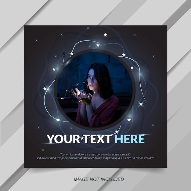Modern instagram post template with star effect Premium Vector