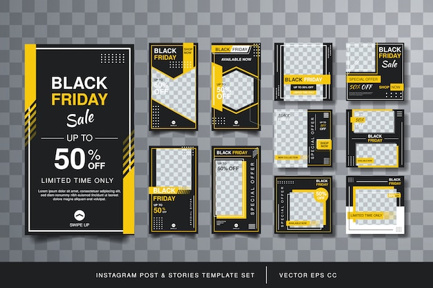 Modern instagram square post and stories template set Premium Vector