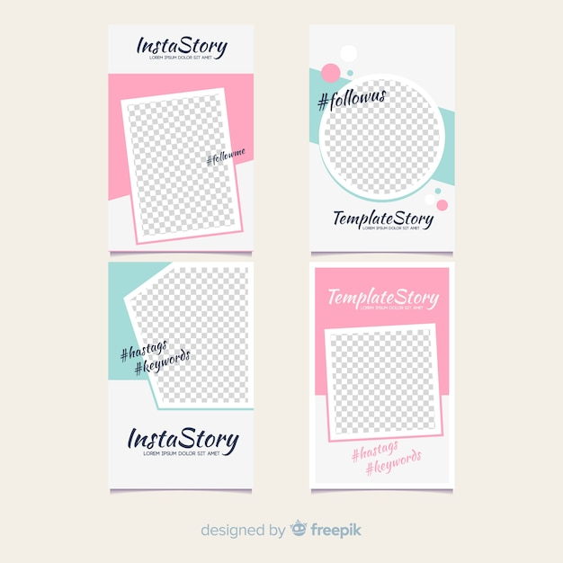 Modern instagram story template collection Free Vector