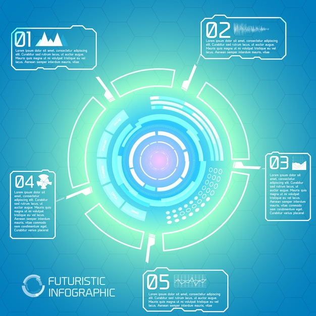Modern interactive technology background with futuristic infographic elements colorful circle virtual touch screen design Free Vector