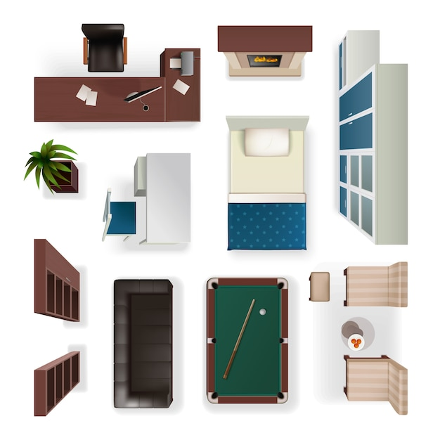Modern interior elements realistic top view Free Vector