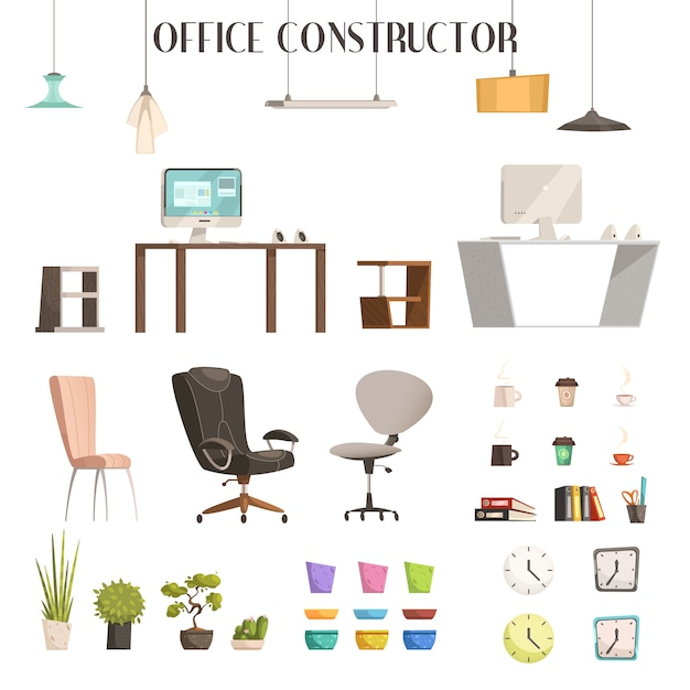 Modern interior furniture and accessories cartoon style icons for trendy office renovation Free Vector