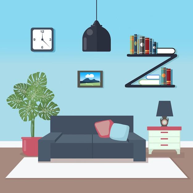 Modern interior living room Premium Vector