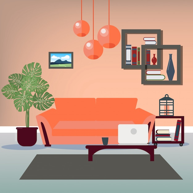 Modern interior living room Premium Vector