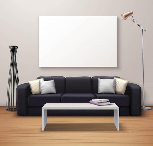 Modern interior mockup realistic poster Free Vector