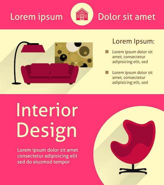 Modern interior poster Free Vector