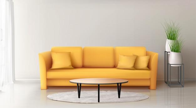 黄色のソファとモダンなインテリア 無料ベクター