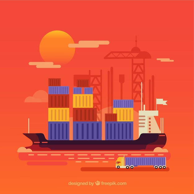 Modern international trade concept with flat design Premium Vector
