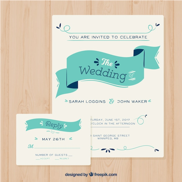 Modern invitation template with ribbon vector free download modern invitation template with ribbon free vector stopboris Image collections