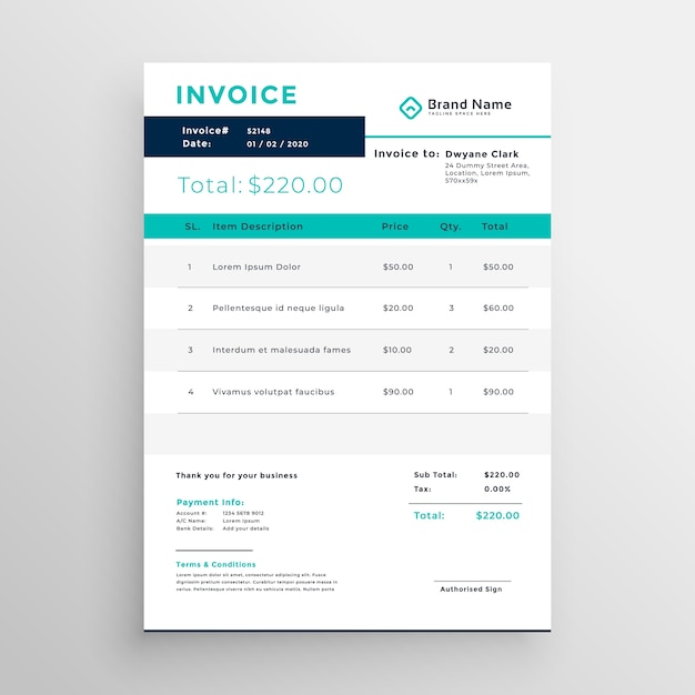 Modern Invoice Template Design For Your Business Vector Free Download - Invoice template design
