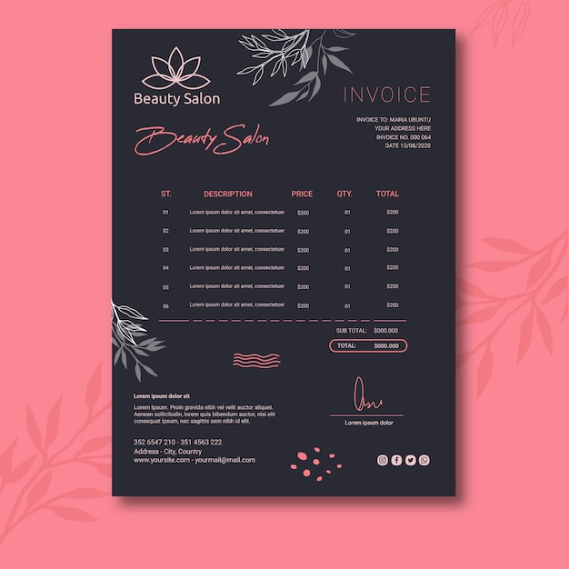 Modern invoice template Free Vector