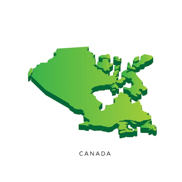 Modern Isometric 3D Canada Map Vector Free Download