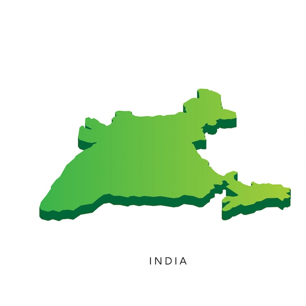 Modern Isometric 3D India Map Free Vector