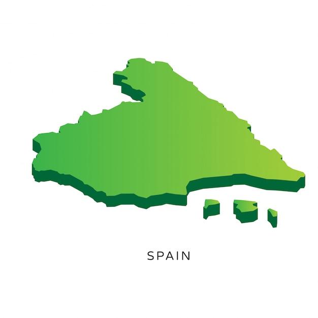 Modern Isometric 3D Spain Map