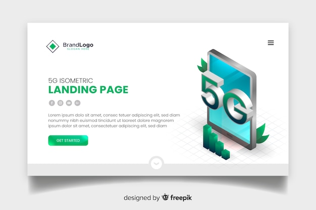 Modern isometric 5g landing page Free Vector