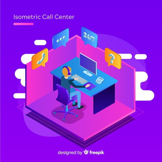 Modern isometric call center concept Free Vector