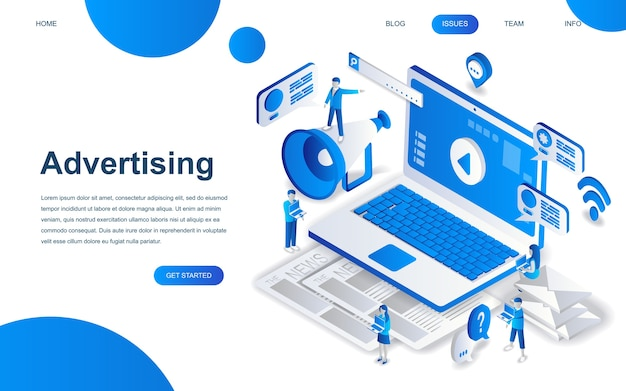 Modern isometric design concept of advertising Premium Vector