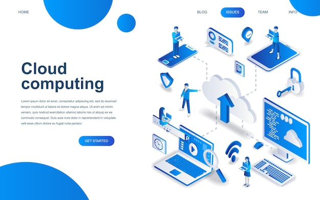 Modern isometric design concept of cloud technology Premium Vector