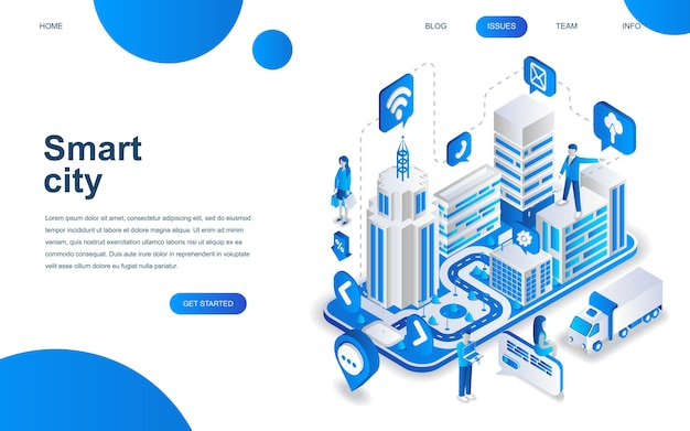 Modern isometric design concept of smart city Premium Vector