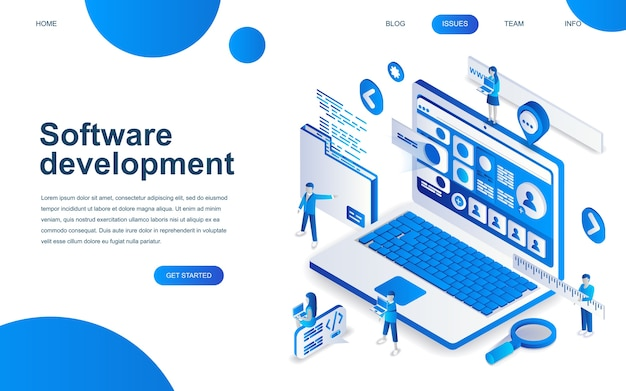 Modern isometric design concept of software development Premium Vector