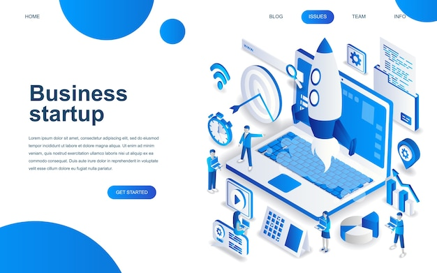 Modern isometric design concept of startup your project Premium Vector
