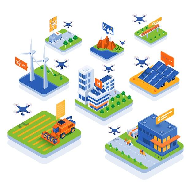 Modern isometric illustration  - drone technology Premium Vector