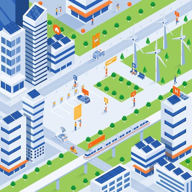 Modern isometric illustration  - eco smart city concept Premium Vector
