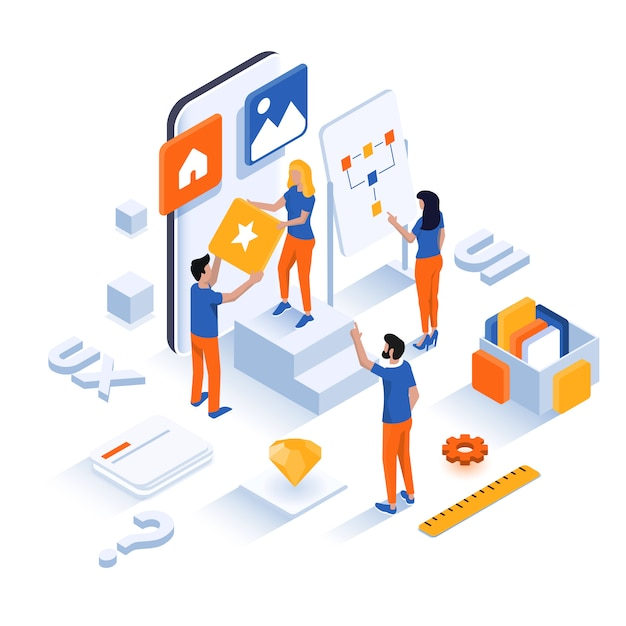 Modern isometric illustration  - ui concept Premium Vector