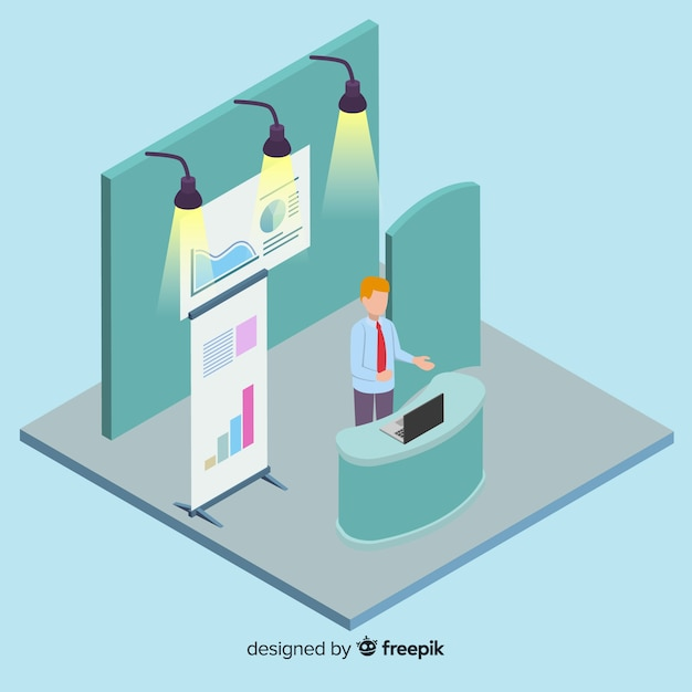Modern isometric stand exhibition concept Free Vector