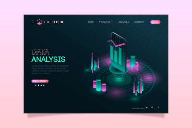 Modern isometric technology landing page Free Vector