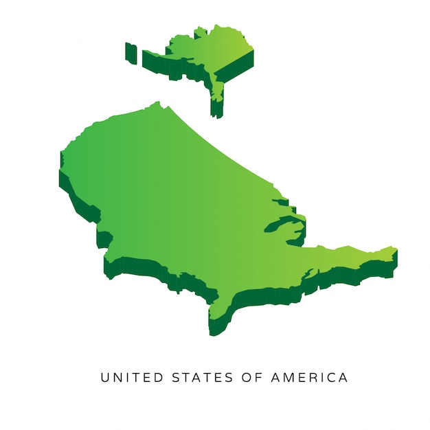 Modern Isometric United States Of America Map Vector Premium