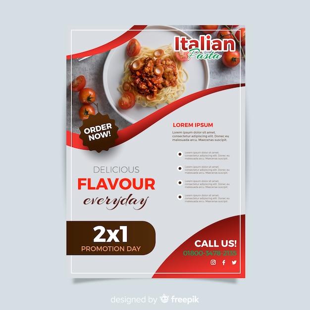 Modern italian restaurant flyer template Free Vector