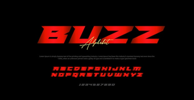 Modern italic alphabet font typography urban Premium Vector