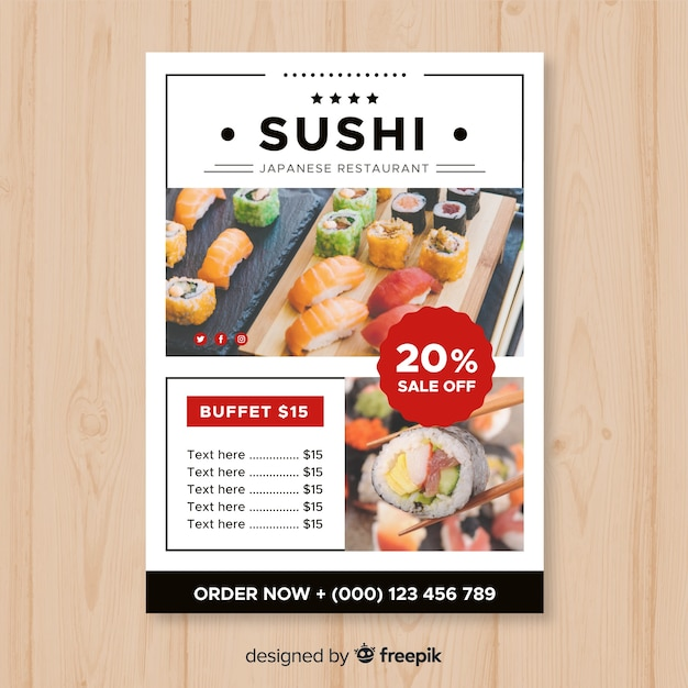 modern japanese restaurant flyer template vector free download