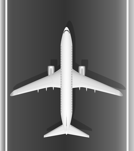 A modern jet passenger white plane on the runway. view from above. a well-designed image with a mass of small details. copy space. Premium Vector